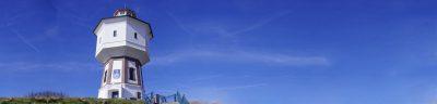 Der Wasserturm von Langeoog aus der Froschperspektive.