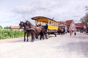 Eine Pferdekutsche steht vor dem Bahnhof in Langeoog.